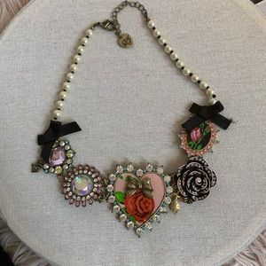 Betsey Johnson Heart Rose Necklace